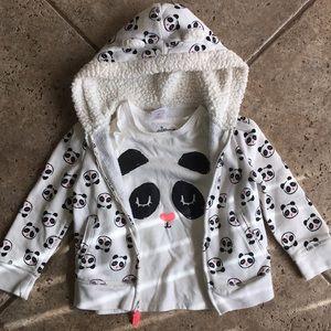 Circo Girls Panda Shirt Hoodie Jacket Set